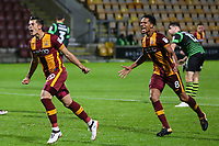 Alex Jones of Bradford City celebrates scoring for Bradford City during the Carabao Cup match between Bradford City and Doncaster Rovers at the Northern Commercial Stadium, Bradford, England on 8 August 2017. Photo by Thomas Gadd.