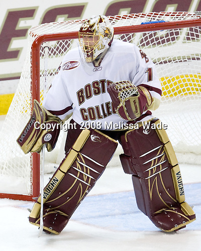 John Muse (Boston College - 1) - The Boston College Eagles defeated the University of Wisconsin Badgers 5-4 on Friday, October 10, 2008 after raising their 2008 National Championship banner at Kelley Rink in Conte Forum in Chestnut Hill, Massachusetts.