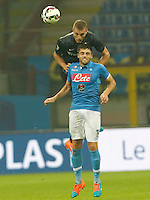 Nemanja Vidic   David Lopez  during the Italian serie A   soccer match between SSC Napoli and Inter    at  the San Siro    stadium in Milan  Italy , Octobrr 19 , 2014