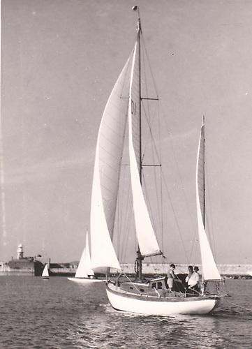 Dermot Barnes 30ft John B Kearney yawl Evora in Dun Laoghaire in 1954