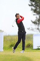 Gerard Dunne (Co. Louth) on the 1st tee during Round 1 of the Irish Amateur Close Championship at Seapoint Golf Club on Saturday 7th June 2014.<br /> Picture:  Thos Caffrey / www.golffile.ie