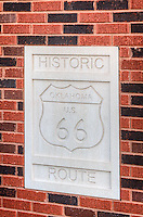 Route 66 shield on the new Bolin Ford building in downtown Bristow Oklahoma.