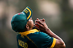 Jerry Nqolo of South Africa takes the catch and celebrates during Day 2 of Hong Kong Cricket World Sixes 2017 Cup final match between Pakistan vs South Africa  at Kowloon Cricket Club on 29 October 2017, in Hong Kong, China. Photo by Yu Chun Christopher Wong / Power Sport Images