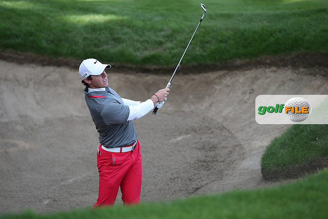 Rory McIlroy (NIR) has a bunker shot on the last during the Final Round of the BMW PGA Championship from Wentworth Golf Club, Virginia Waters, London, UK. Picture:  David Lloyd / www.golffile.ie