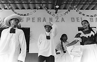 Traditional dance performance by community folk-dance group. Community of Nueva Esperanza, El Salvador, 1999.