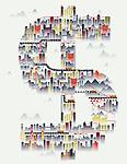 Illustrative image of buildings in dollar sign representing America