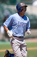 Memphis Tigers outfielder Drew Martinez #1 runs to first against the Rice Owls in NCAA Conference USA baseball on May 14, 2011 at Reckling Park in Houston, Texas. (Photo by Andrew Woolley / Four Seam Images)