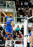Trento, Italy - 27/03/2014<br /> Casa Modena's French spiker Earvin Ngapeth plays the ball during the play off Volley-ball match of Italian Serie A1 on 27/03/2014 in Trento.