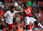 John Brayford of Sheffield Utd challenges Zoumana Bakayogo of Crewe Alexandra during the Sky Bet League One match at Bramall Lane Stadium. Photo credit should read: Simon Bellis/Sportimage