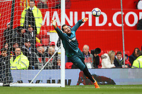 Kristoffer Nordfeldt of Swansea City during the pre-match warm-up prior to the Premier League match between Manchester United and Swansea City at the Old Trafford, Manchester, England, UK. Saturday 31 March 2018