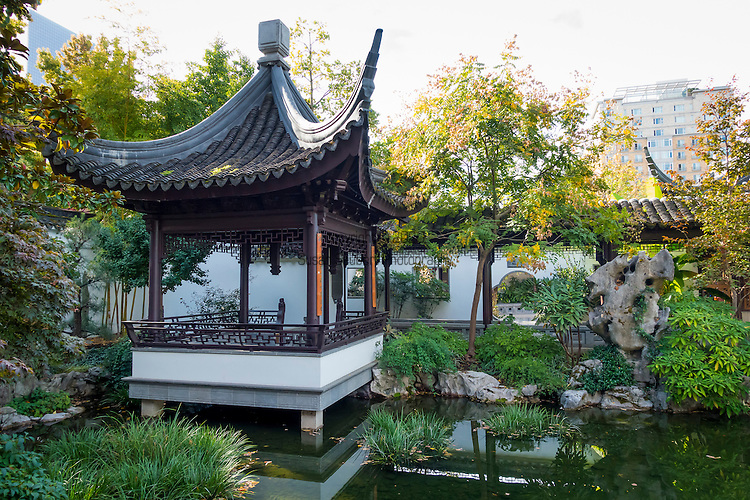 Lan Su Chinese Garden (simplified Chinese: 兰苏园; traditional Chinese: 蘭蘇園; pinyin: Lán Sū Yuán; Jyutping: Laan4 Sou1 Jyun4), formerly the Portland Classical Chinese Garden and titled the Garden of Awakening Orchids, is a walled Chinese garden enclosing a full city block, roughly 40,000 square feet (4,000 m2) in the Chinatown area of the Old Town Chinatown neighborhood of Portland, Oregon, USA. The garden is influenced by many of the famous classical gardens in Suzhou.