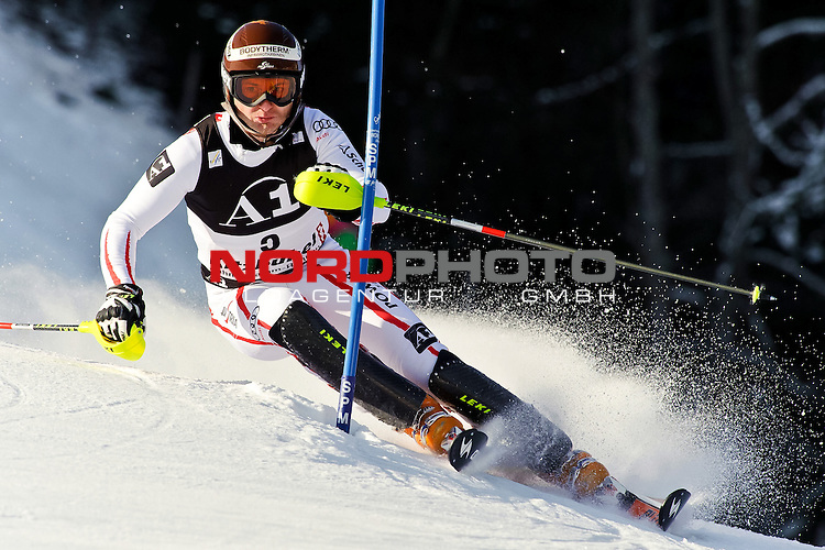 23.01.2011, Hahnenkamm, Kitzbuehel, AUT, FIS World Cup Ski Alpin, Men, Slalom, im Bild // Reinfried Herbst (AUT) // during the men slalom race at the FIS Alpine skiing World cup in Kitzbuehel, Foto © nph /  S. Zangrando