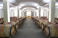 Oak barrel aging and fermentation cellar. Chateau Nenin, Pomerol, Bordeaux, France