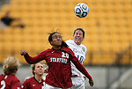 04 December 2011: Stanford's Mariah Nogueira (20) and Duke's Nicole Lipp (10). The Stanford University Cardinal played the Duke University Blue Devils at KSU Soccer Stadium in Kennesaw, Georgia in the NCAA Division I Women's Soccer College Cup Final.