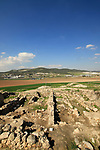 Israel, Shephelah, excavations in the northern part of Tel Beth Shemesh exposed ruins from the Israelite period, Sorek valley and Tel Tzora are in the background