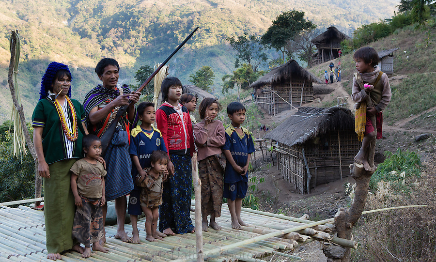 Shaman and his family in the Chin hills, Myanmar