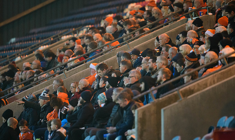Blackpool fans watch their team in action <br /> <br /> Photographer Chris Vaughan/CameraSport<br /> <br /> The EFL Sky Bet League One - Rochdale v Blackpool - Wednesday 26th December 2018 - Spotland Stadium - Rochdale<br /> <br /> World Copyright © 2018 CameraSport. All rights reserved. 43 Linden Ave. Countesthorpe. Leicester. England. LE8 5PG - Tel: +44 (0) 116 277 4147 - admin@camerasport.com - www.camerasport.com