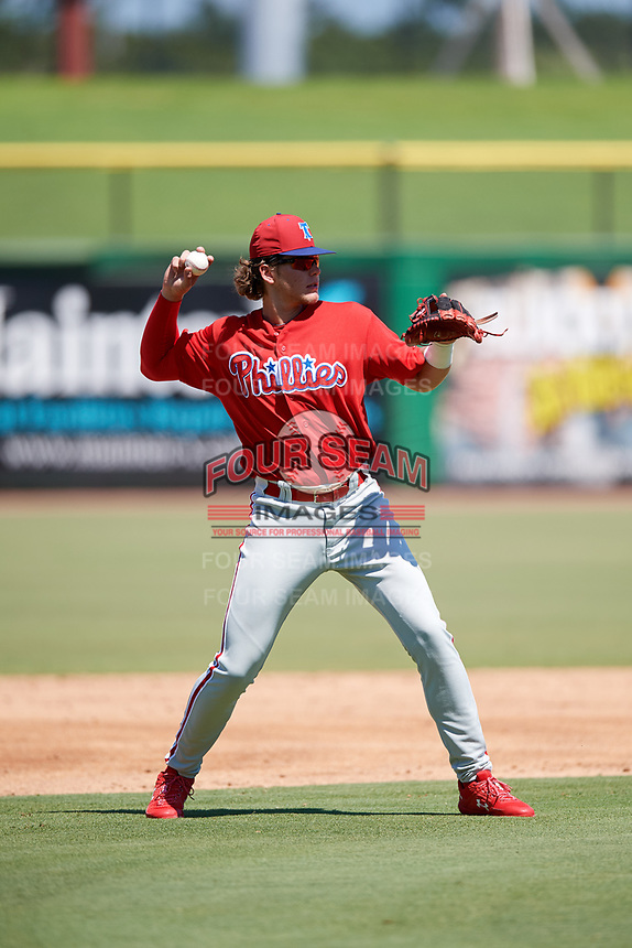 Philadelphia Phillies third baseman Alec Bohm (18) throws to first base during a Florida Instructional League game against the Toronto Blue Jays on September 24, 2018 at Spectrum Field in Clearwater, Florida.  (Mike Janes/Four Seam Images)