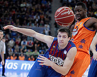 FC Barcelona Regal's Xabi Rabaseda (l) and Valencia Basket Club's Florent Pietrus during Spanish Basketball King's Cup Final match.February 07,2013. (ALTERPHOTOS/Acero)