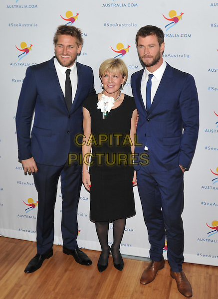 New York,NY-JANUARY 25: Curtis Stone, Julie Bishop and Chris Hemsworth attend the 'There's Nothing Like Australia' Campaign Launch at Celsius at Bryant Park on January 25, 2016 in New York City. <br /> CAP/MPI/STV<br /> &copy;STV/MPI/Capital Pictures