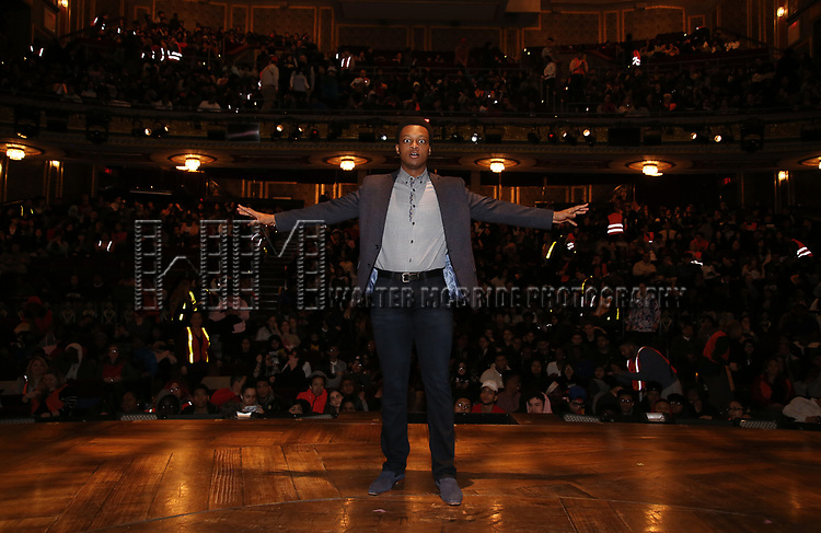"""J. Quinton Johnson during the  #EduHam matinee performance Q & A for """"Hamilton"""" at the Richard Rodgers Theatre on 3/28/2018 in New York City."""