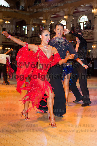 Masashi Shibanishi & Maria Kishimoto of Japan perform their dance during the Blacpool Dance Festival that is the most famous event among dance competitions held in Empress Ballroom Wintergardens, Blackpool in the United Kingdom. Wednesday, 02. June 2010. ATTILA VOLGYI
