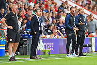 Both Managers Leicester City Manager Claude Puel left and AFC Bournemouth Manager Eddie Howe right looking tense during AFC Bournemouth vs Leicester City, Premier League Football at the Vitality Stadium on 15th September 2018