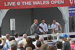 Scott Quinnell conducting a Q&amp;A with Wales and Lions heroes George North and Sam Warburton in the tented village at the ISPS Handa Wales Open 2013<br /> Celtic Manor Resort<br /> <br /> 01.09.13<br /> <br /> &copy;Steve Pope-Sportingwales