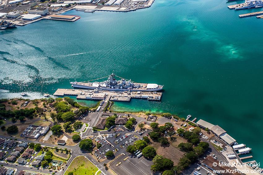 Aerial view of the USS Missouri battleship, Pearl Harbor, Oahu