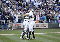04 October 2009: Seattle Mariners closer David Aardsma celebrates with catcher Rob Johnson after closing the door on the Texas Rangers. Seattle won 4-3 over the Texas Rangers at Safeco Field in Seattle, Washington.