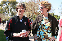 3 April 2008: The team departs for the Final Four and is sent off by fans and staff of the Athletic Department near Maples Pavilion in Stanford, CA. Pictured are Tara VanDerveer and Barbara Reich.