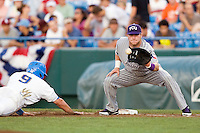 TCU's Matt Curry in Game 6 of the NCAA Division One Men's College World Series on Monday June 21st, 2010 at Johnny Rosenblatt Stadium in Omaha, Nebraska.  (Photo by Andrew Woolley / Four Seam Images)