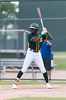 Oakland Athletics outfielder Lawrence Butler (14) at bat during an exhibition game against Team Italy at Lew Wolff Training Complex on October 3, 2018 in Mesa, Arizona. (Zachary Lucy/Four Seam Images)