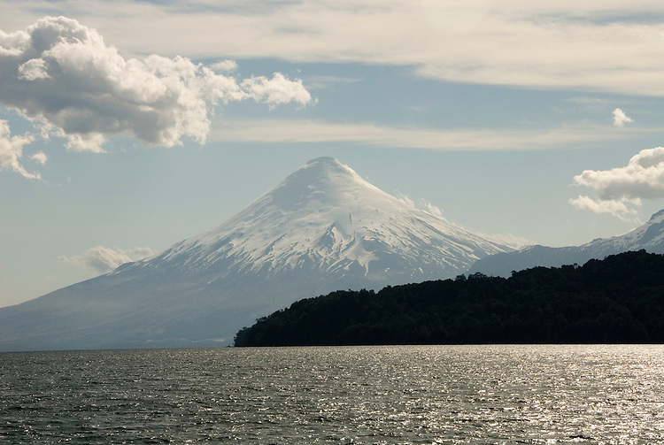Chile, Lake Country: View of Osorno Volcano while riding across Lake Todos Los Santos..Photo #: ch627-33948..Photo copyright Lee Foster www.fostertravel.com, lee@fostertravel.com, 510-549-2202.