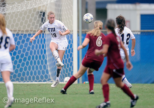 Florida International University women's soccer player Sara Stewart (19) plays against the University of Denver on October 16, 2011 at Miami, Florida. FIU won the game 1-0. .