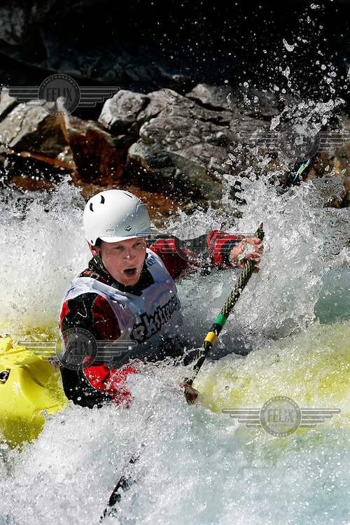 RANDEN Kai Arne (Norway).Kayak downhill race in the Brandseth river. The Extremesport Week, Ekstremsportveko, is the worlds largest gathering of adrenalin junkies. In the small town of Voss enthusiasts in a varitety of extreme sports come togheter every summer to compete and play. Norway.  ©Fredrik Naumann/Felix Features.