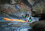 November 5, 2016 - Hendersonville, North Carolina, U.S. -  Kayaker, Isaac Levinson, works his way through strong currents before dropping into the Scream Machine Rapids during the 21st annual Green Race.The Green River Narrows provides one of the most intense and extreme whitewater venues in the world and is home to many of the USA's most talented paddlers.  Green River Narrows, Hendersonville, North Carolina.