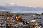bonfire on beach just south of Hokitika with view of Aoraki Mt.Cook and Mt.Tasman
