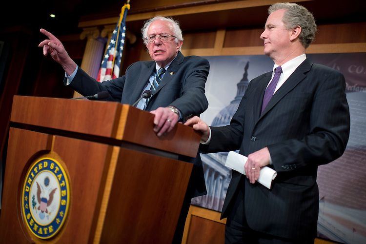 "UNITED STATES - APRIL 14: Sen. Bernie Sanders, I-Vt., left, ranking member of the Senate Budget Committee, and Rep. Chris Van Hollen, D-Md., ranking member of the House Budget Committee, conduct a news conference in the Capitol's Senate Studio to discuss ""Democratic priorities in advance of the Budget Conference Committee,"" April 14, 2015. (Photo By Tom Williams/CQ Roll Call)"