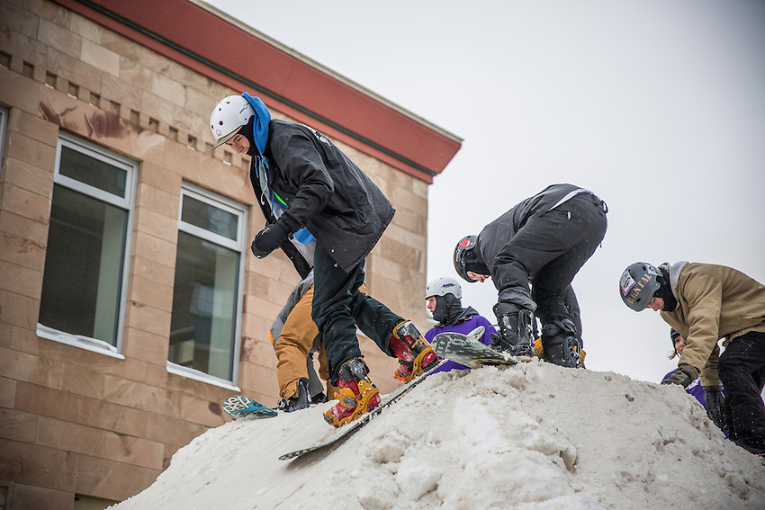 The Downtown Showdown ski and snowboard rail jam in downtown Marquette, Michigan.