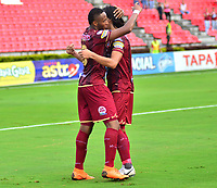 IBAGUÉ-COLOMBIA , 10 -11-2018 .Nilson Castrillon  jugador del Deportes Tolima  celebra su gol contra Patriotas Boyacá durante partido por la fecha 19 de la Liga Águila II 2018 jugado en el estadio Manuel Murillo Toro de la ciudad de Ibagué./ Nilson Castrillon player of Deportes Tolima celebrates his goal against  of Patriotas Boyaca during the match for the date 19 of the Aguila League II 2018 played at Manuel Murillo Toro  stadium in Ibague city. Photo: VizzorImage/ Juan Carlos Escobar / Contribuidor