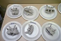 NWA Democrat-Gazette/BEN GOFF @NWABENGOFF<br /> Gargoyles made by students out of modeling lay sit to dry Friday, July 14, 2017, during ArtCamp: Medieval Adventure at First Presbyterian Church in Rogers. During the five-day camp for rising 1st through 7th graders, students made various art projects inspired by such things as illuminated manuscripts, stained glass windows, relief carving, tapestries and architecture.