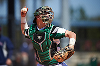 Farmingdale State Rams catcher Kenneth Johntry (7) warmup throw down to second base during the first game of a doubleheader against the FDU-Florham Devils on March 15, 2017 at Lake Myrtle Park in Auburndale, Florida.  Farmingdale defeated FDU-Florham 6-3.  (Mike Janes/Four Seam Images)