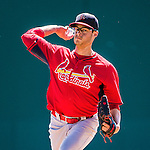 9 March 2014: St. Louis Cardinals pitcher Joe Kelly on the mound during a Spring Training game against the Washington Nationals at Space Coast Stadium in Viera, Florida. The Nationals defeated the Cardinals 11-1 in Grapefruit League play. Mandatory Credit: Ed Wolfstein Photo *** RAW (NEF) Image File Available ***
