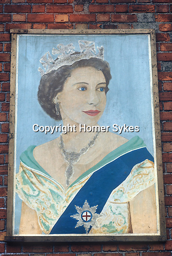 Protestant portrait of the Queen Belfast mural 1970s Northern Ireland Uk. This is paired with the portrait of the Duke of Edinburgh