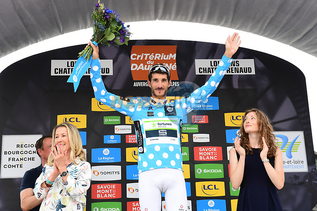 Brice Feillu (FRA) Fortuneo-Samsic retains the mountains Polka Dot Jersey at the end of Stage 3 of the 2018 Criterium du Dauphine 2018 a Team Time Trial running 35km from Pont de Vaux to Louhans Chateaurenaud, France. 6th June 2018.<br /> Picture: ASO/Alex Broadway | Cyclefile<br /> <br /> <br /> All photos usage must carry mandatory copyright credit (© Cyclefile | ASO/Alex Broadway)