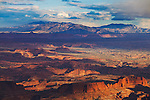 Canyonlands National Park, UT<br /> Sunset light sweeps the Green River Canyon beneath a clearing storm, from Grand View.