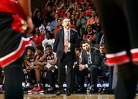 Louisville head coach Rick Pitino during the game Saturday Feb. 7, 2015, in Charlottesville, Va. Virginia defeated Louisville  52-47. (Photo/Andrew Shurtleff)