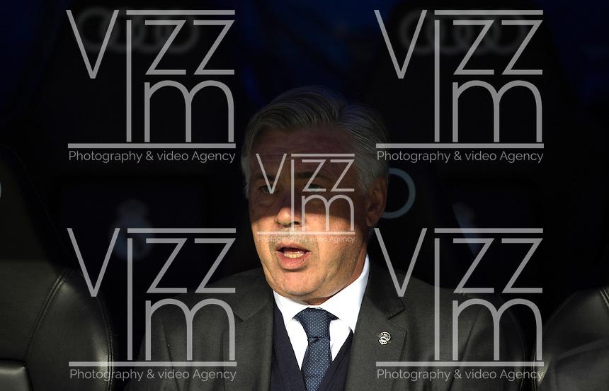 MADRID - ESPAÑA - 23-09-2014: Carlo Ancelotti, técnico de Real Madrid durante partido de la Liga de España, Real Madrid y Elche en el estadio Santiago Bernabeu de la ciudad de Madrid, España. / Carlo Ancelotti, head coach of Real Madrid during a match between Real Madrid and Elche for the Liga of Spain in the Santiago Bernabeu stadium in Madrid, Spain  Photo: Asnerp / Patricio Realpe / VizzorImage.