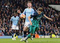 Manchester City's Aymeric Laporte vies for possession with Tottenham Hotspur's Fernando Llorente<br /> <br /> Photographer Rich Linley/CameraSport<br /> <br /> UEFA Champions League - Quarter-finals 2nd Leg - Manchester City v Tottenham Hotspur - Wednesday April 17th 2019 - The Etihad - Manchester<br />  <br /> World Copyright © 2018 CameraSport. All rights reserved. 43 Linden Ave. Countesthorpe. Leicester. England. LE8 5PG - Tel: +44 (0) 116 277 4147 - admin@camerasport.com - www.camerasport.com
